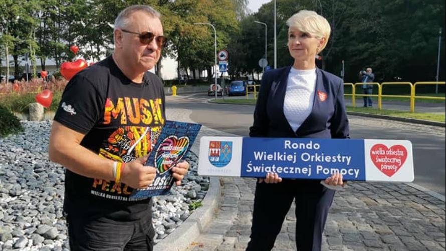 Jurek Owsiak, założyciel WOŚP oraz Prezydent Miasta Kołobrzeg, Anna Mieczkowska