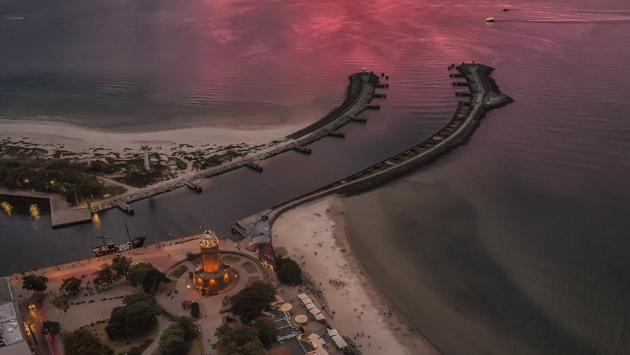 widok miasta Kołobrzeg z lotu ptaka